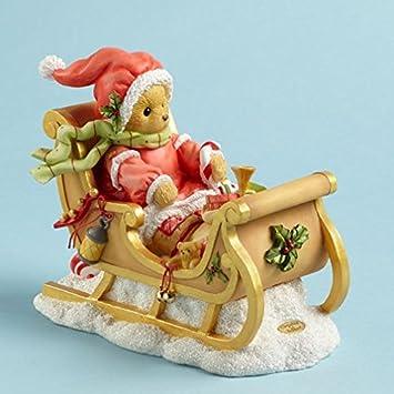 Cherished Teddies Sherwood Bear Delivering Presents in Sleigh Christmas Figurine
