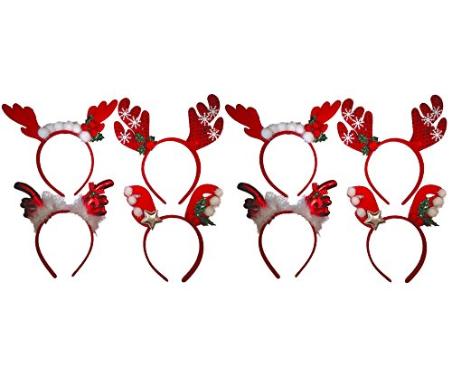 Christmas Headbands - Red Reindeer Antler Party Hats for Christmas Celebration (8) -