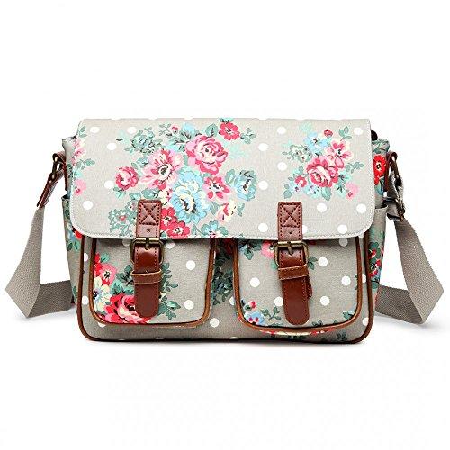 Miss Lulu, borsa a tracolla in tela cerata fiori e pois