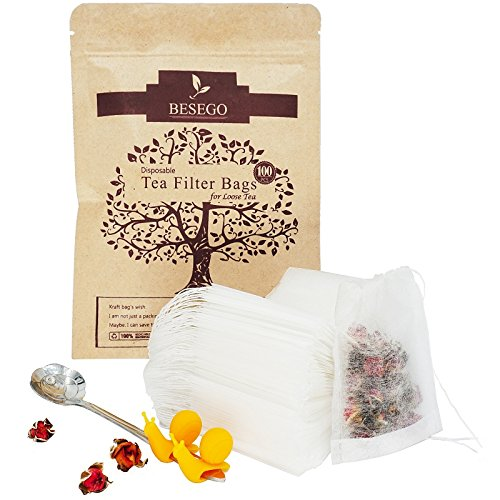 Besego 100Pcs Drawstring Tea Filter Bags with Spoon and Cup Clip, Safe & Natural Material, Disposable Empty Tea Infuser Bag for Herb and Loose Leaf Tea, 1-cup capacity (2.4×3.2in) Bamboo Drawing Charcoal