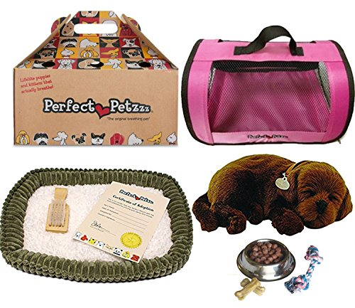Perfect Petzzz Chocolate Lab Plush with Pink Tote For Plush Breathing Pet and Dog Food, Treats, and Chew Toy