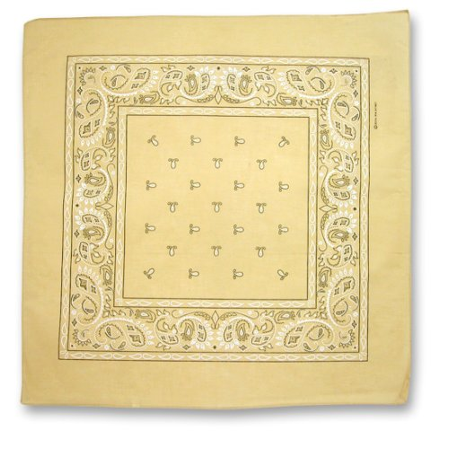 KHAKI TAN BEIGE COTTON BANDANA PAISLEY PRINT 22 SQUARE INCHES by DKY (Image #1)