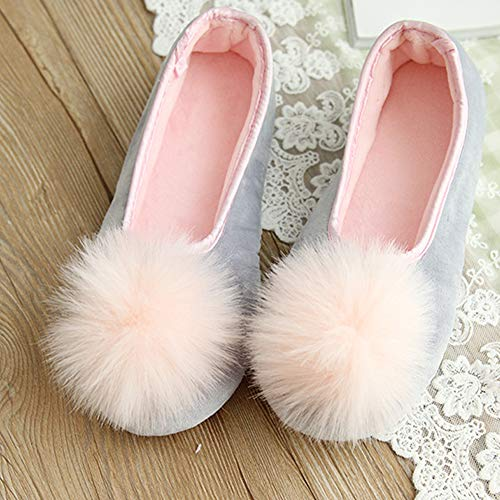 Slippers for Comfortable gray Womens 77Fine Slipper Knitted Slippers Memory Warm Soft Ball Girls Foam Cotton House Home 7OUnUa