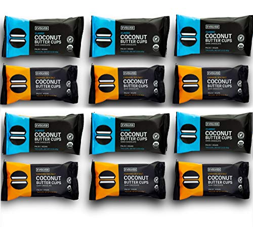 Evolved Chocolate - Organic Coconut Butter Cups Variety Pack 12 Count: Classic and Caramel Sea Salt - Paleo Friendly, Vegan Friendly, Gluten Free - 1.5 oz each (12 count)