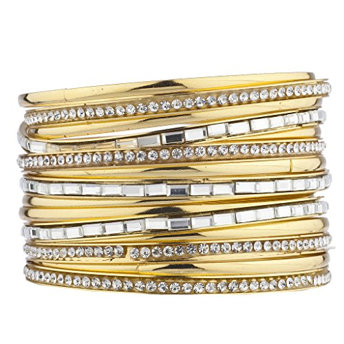 Baguette Gold Tone Bracelet - Lux Accessories goldtone Pave and Baguette Stone Bangle Bracelet Set