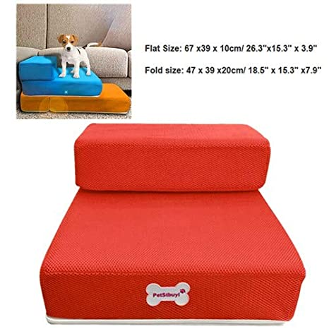 Pet Stairs,Removable Pet boy Bed Stairs Fashion Orthopedic Dog cat Stairs,Step Comfort Pet Girl Stairs,Protect Pets Joint and Knee for Small Medium and Large Pets S, Blue