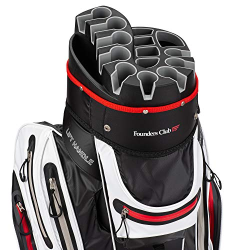 Founders Club Premium Cart Bag with 14 Way Organizer Divider Top (White) Waterproof (Best Lightweight Cart Bag)