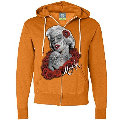 Dia De Los Muertos Marilyn Monroe Zip-Up Hoodie - Tangerine X-Large -