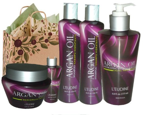 L'eudine Luxury 6-piece Argan Oil Hair Gift Set for Women (Luxury Argan Oil Hair Care Set in Argan Tree Gift Box)-HIGH DEMAND PRODUCT-VERY LIMITED EDITION-VERY HARD TO FIND.
