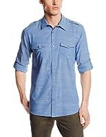 Calvin Klein Men's Slub Voile Button-Front Woven Shirt