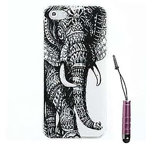 ZMY patrón elefante izquierda cubierta del estuche rígido&pluma del tacto para el iphone 4 / 4s
