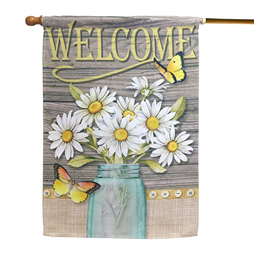 - LAYOER Home Garden Flag 28 x 40 Inch Decorative House Double Sided Banner (Flowers Butterfly Welcome)