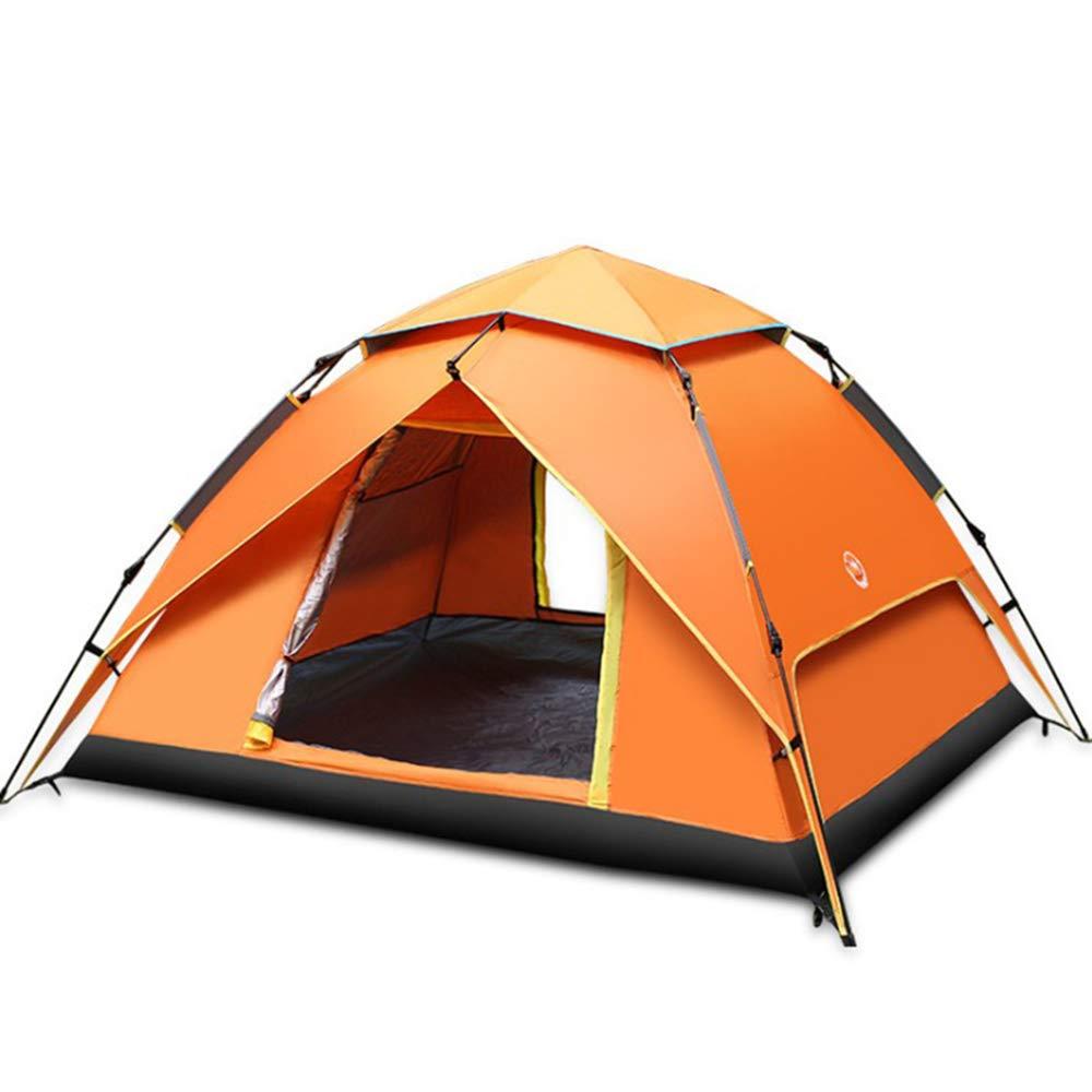 LQUIDE 2-3 Personen Außenzelt, Automatische Elastische Casual Familie Camping Zelt Wasserdicht Sonnenschutz Lüftung, Geeignet Für Wandern Angeln Reisen Camping 210X210x145cm,Orange