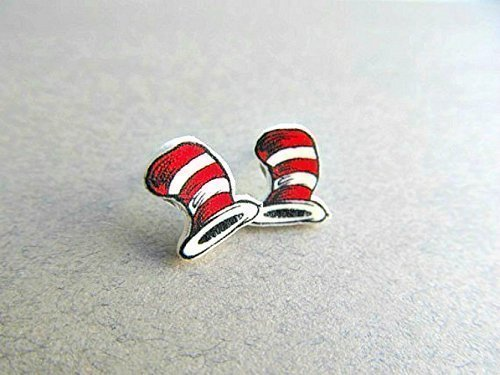 Dr. Seuss Hat Stud Earrings MATTE Finish, Dr. Seuss Birthday, Teacher gift, Teacher appreciation -
