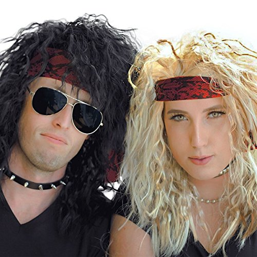 80s Heavy Metal Halloween Wigs - 2 Pack - Blonde and Black Wig - Rocker Costumes, Large (Black Metal Costume)