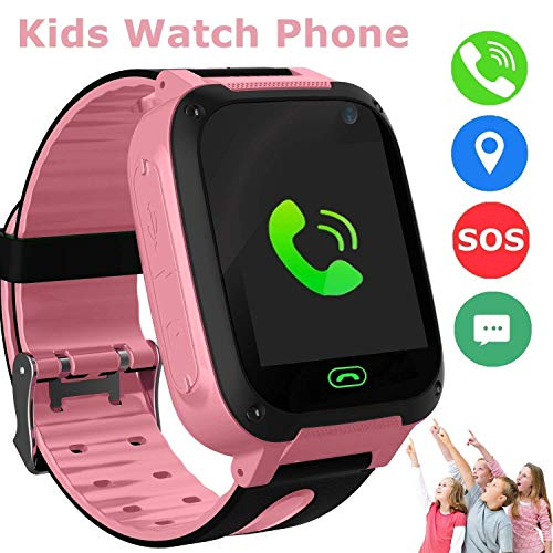 Kids Smart Watch Phone, GPS Tracker Smart Wrist Watch for 3-12 Year Old Boys Girls with SOS Camera Sim Card Slot Touch Screen Game Smartwatch Outdoor Activities Toys Childrens Day Gift (Pink)