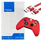 Insten Compatible With Microsoft Xbox One / Xbox One S Controller Red Silionce Case + 3FT Red Micro USB Flat Noodle Cable