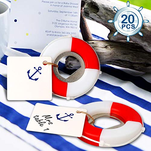 AerWo 20pcs Nautical Baby Shower Favors, Life Saver Bottle Opener for Beach Wedding Favors with Anchor Logo Tag Card, Nautical Baby Shower Birthday Party Gifts for Guest]()