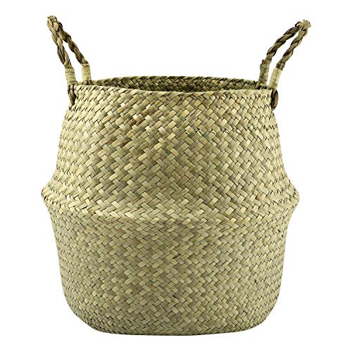 Lewondr Natural Seagrass Belly Basket, 31cm Collapsible Handmade Plant Pot Planter Weave Tote Basket with Handle for Storage Laundry Home Picnic, Natural