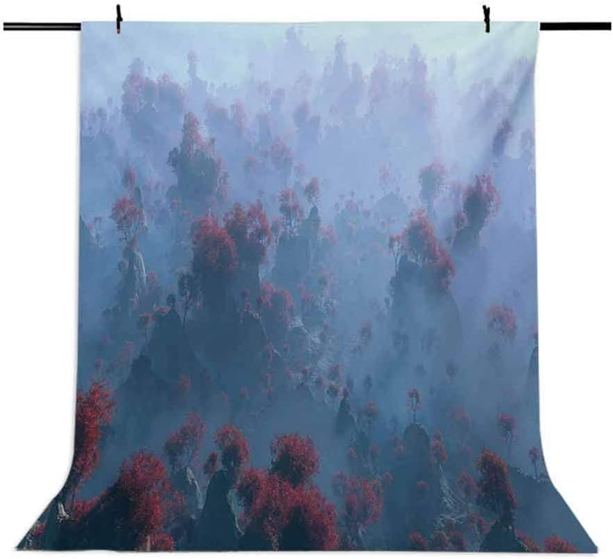 Mystic 6x8 FT Backdrop Photographers,Aerial of Mystic Mountain Landscape with Autumn Trees in The Mist Wilderness Image Background for Child Baby Shower Photo Vinyl Studio Prop Photobooth Photoshoot