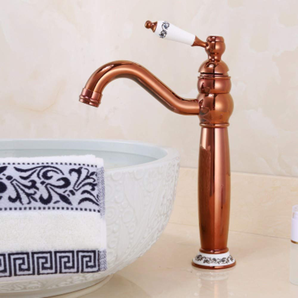 F XHSSF-Bathroom taps Cold-hot Single-Hole Heightening Faucet for European Copper Table top Basin,A