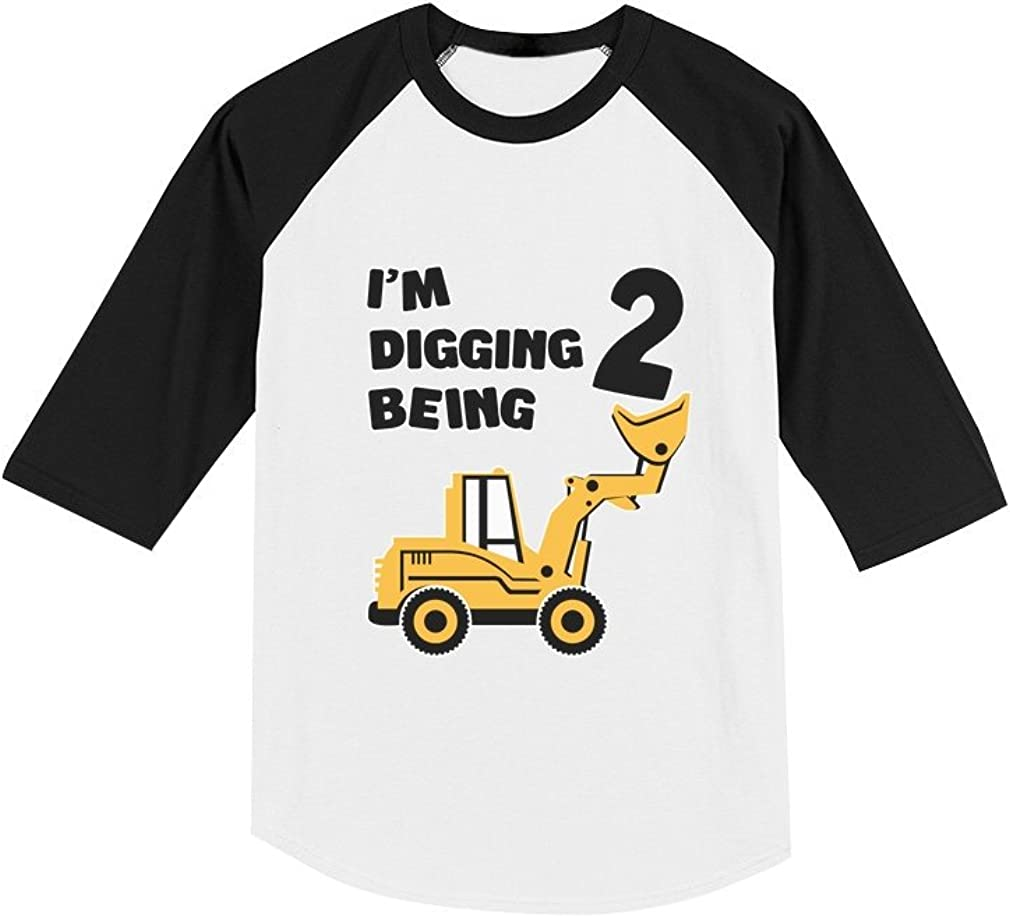 2nd Birthday Bulldozer Construction Party Toddler Raglan 3/4 Sleeve Baseball Tee 51T4huwh1QL