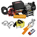 Partsam Electric 12V 4500lbs/2045kg Winch Trailer Winch for Towing Truck UTV ATV Boat Off Road Winch Kits with Steel Wire Rope, Roller Fairlead and Wireless Remote Control Recovery Winch