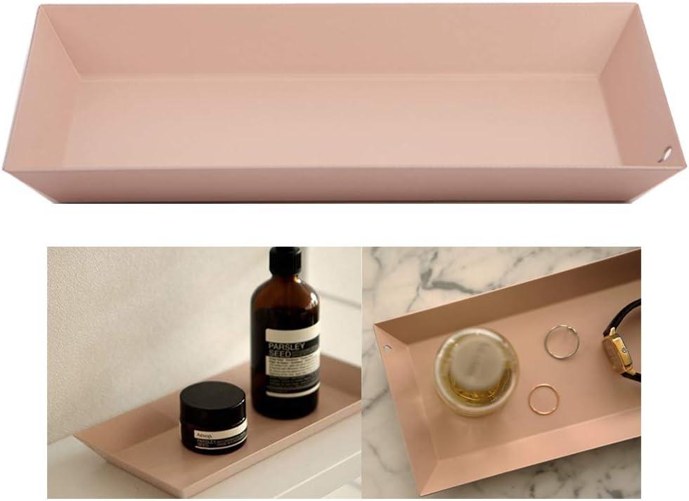 Dailylike Cosmetic Vanity Tray Jewelry Perfume Key Steel Storage Organizer Desk Coaster RoseBeige