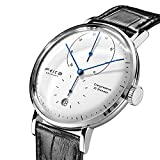 FEICE Automatic Watch Men's Classic Bauhaus Watch Analog Mechanical Watches Domed Mirror Stainless Steel Waterproof Dress Watches for Men #FM202 (Black)
