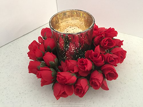 ement- Speckled Metallic Glass - Mini Red Roses ()