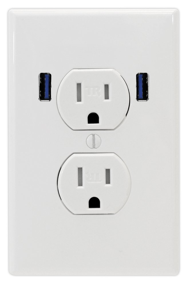 U-Socket ACE-8162 15-Amp Tamper Resistant Standard Duplex Dual Outlet USB, White by U-Socket
