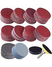 Gesh 200 st 50 mm 2 tums slipskivor 80-3000 slippapper med 1 tum slipmedel putsad platta + 1/4 tums skaft för roterande verktyg