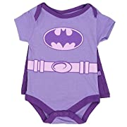 Batgirl Infant Baby Girls  Creeper Onesie Bodysuit Snapsuit  With Cape (0-3 mo., Purple)