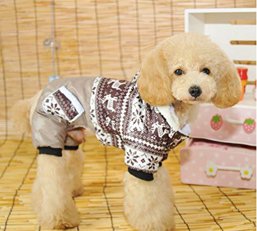 fogohill Pet Small Dogs Pajamas Fashion Pet Snowflake Joint Four Legs Cotton Padded Coat Winter Warm Clothes Brown X-Large