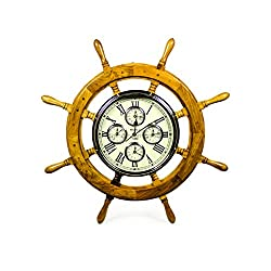 48 Premium Mahogany Crafted Large Nautical Ship's Wheel Times World Clock | Nautical Home Decor & Gifts | Nagina International (48 Inches, Mahogany)