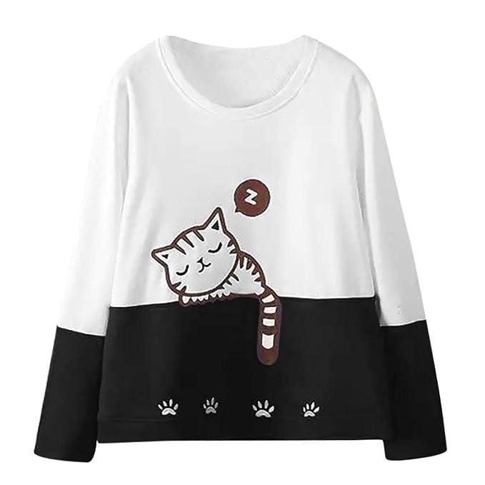 Mujer Gato Bordado Color Coincidente Manga Larga Sudadera, Belasdla Blusa Camiseta 2021 Chic Soy Un Gato Carta Impresa De Manga Larga con Bolsillo: ...