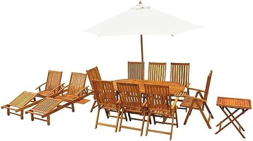 Tidyard Conjunto de Mesa y 8 Sillas de Jardín con Mesas y Tumbonas y Sombrilla,Conjunto de Muebles de Jardín 13 Piezas para Jardín Terraza Patio,Madera de Acacia Maciza: Amazon.es: Hogar