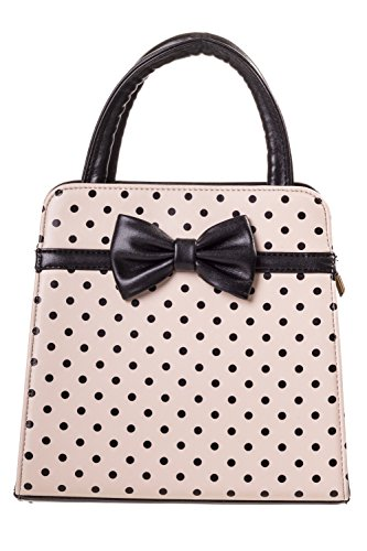 Bolso Banned Carla Rockabilly Vintage Apparel Cream 50s De Lunares black TxqTP0r
