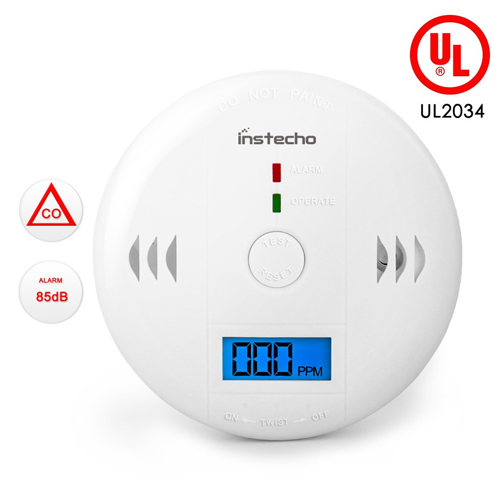Carbon Monoxide Gas Detection CO Detector Alarm LCD Portable Security Gas CO Monitor Battery Powered Alarm Clock Warning 9V Battery not Included UL2034 White