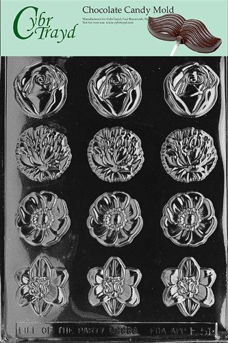 Cybrtrayd Life of the Party F051 Round Flower Mints Rose Iris Daisy Chocolate Candy Mold in Sealed Protective Poly Bag Imprinted with Copyrighted Cybrtrayd Molding (Iris Plastic Mold)