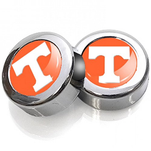 (Tennessee Volunteers College University NCAA Team Logo Auto Car Truck SUV Vehicle Universal-Fit 2 License Plate Frame Caps with 2 Washers Set - Screw Caps)