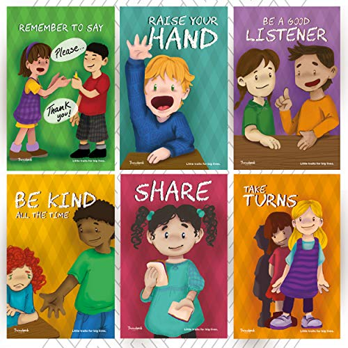 Throwback Traits Six Educational Preschool - Daycare Posters for Toddlers and Kids in Kindergarten. Great for Childrens School Classrooms. Teaching Our Children Values is Important.