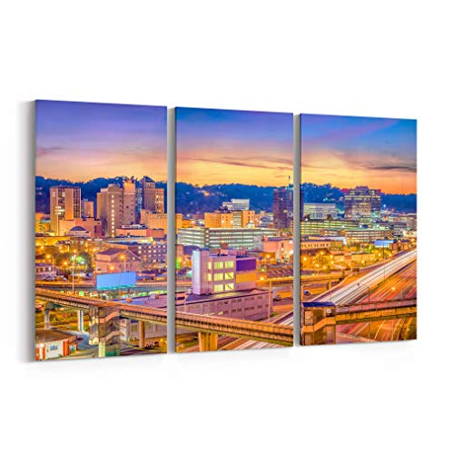 Charleston Gallery - Charleston Skyline Wall Art Charleston Canvas Print Charleston Canvas West Virginia Multiple Sizes Gallery Wrapped Canvas on Pine Wooden Frame