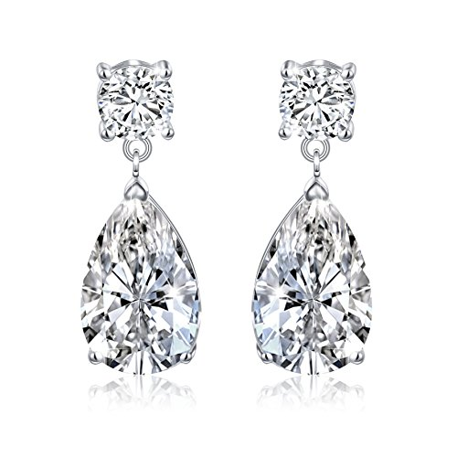 SILVER MOUNTAIN S925 Sterling Silver Drop Dangle Cubic Zirconia Teardrop Bridal Wedding Jewelry Clip On CZ Earrings for Women Girl Gift by SILVER MOUNTAIN