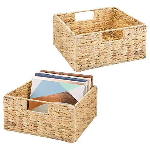 (mDesign Natural Woven Hyacinth Closet Storage Organizer Basket Bin - Open Top, Built-in Handles, Collapsible - for Closet, Bedroom, Bathroom, Entryway, Office - 5.25