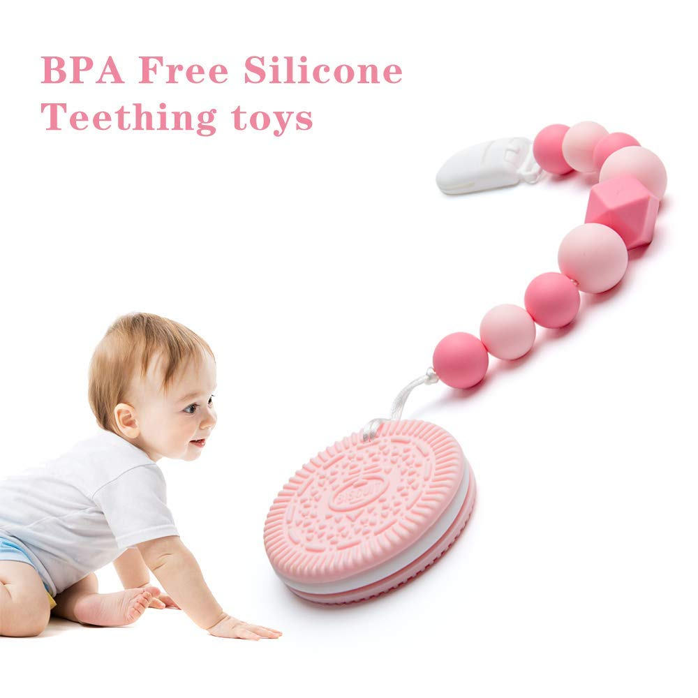 Toy teething and silicone Pink Biche