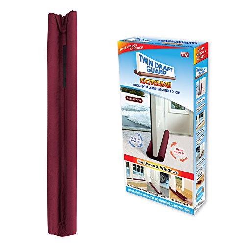 Twin Draft Guard Extreme in Burgundy - Energy Saving Under Door Draft Stopper by Twin Draft Guard