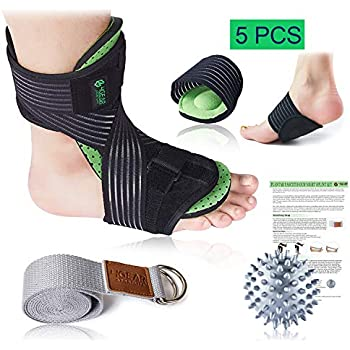 Plantar Fasciitis Night Splint Kit - 5pcs- Adjustable Foot Dorsal Night Splint, Cushioned Arch Supports, Stretching Strap, Spiky Massage Ball & Instruction Manual- Fast Foot & Heel Pain Relief