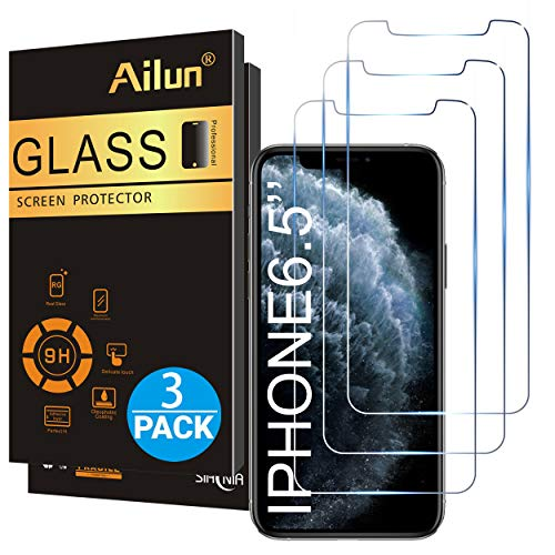 Ailun for Apple iPhone 11 Pro Max/iPhone Xs Max Screen Protector 3 Pack 6.5 Inch 2019/2018 Release Tempered Glass 0.33mm Anti Scratch Advanced HD Clarity Work with Most Case (Protector Crystal Screen)