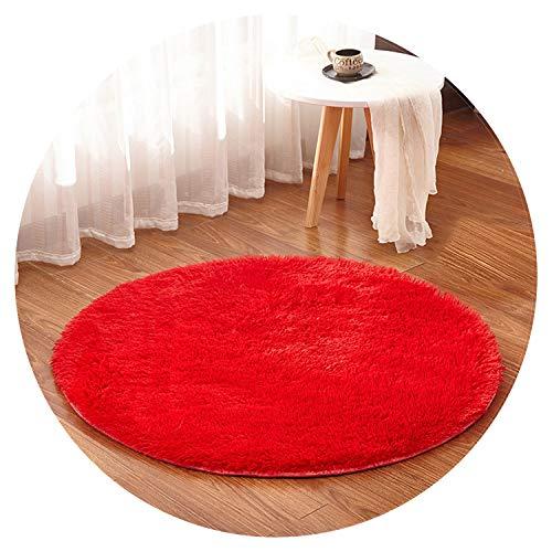 Multicolor Soft Shaggy Area Round Rug Living Room Carpet Bedroom Floor Mat Carpet Diameter 30cm-160cm Home Decoration,Diameter 140cm,Red